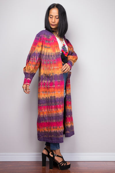 Tie Dye Cardigan with fitted bishop sleeves and pockets.  Buy tie dye cardigans online from Nuichan