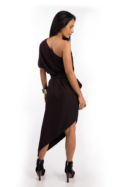 Sleeveless dress, brown one shoulder dress