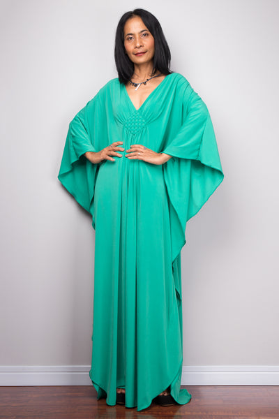 Green kaftan maxi dress.  Buy womens kaftan dress online from Nuichan