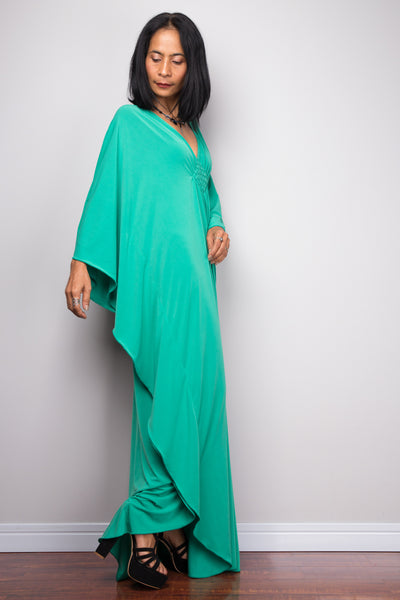 Green kaftan maxi dress.  Buy women's kaftan dress online from Nuichan