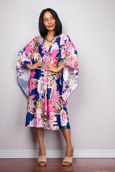 Short Floral Kaftan Dress