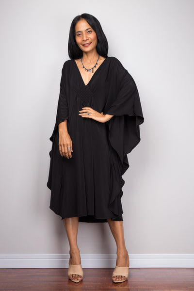 Shop black short dress online.  Black caftan dress by Nuichan