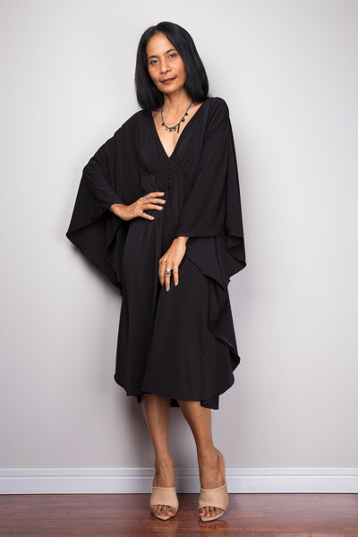 Black midi kaftan dress by Nuichan.  Buy short black dress online