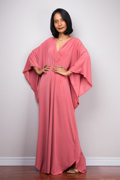 Antique Pink Maxi Dress, Pink Kaftan, Kimono Butterfly Dress : Funky Elegant Collection No.1s