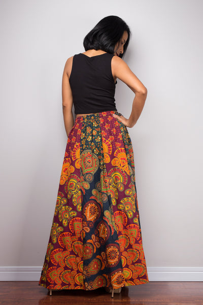 Patchwork Skirt | Maxi skirt | Flowy gypsy festival skirt | Boho Cotton skirt