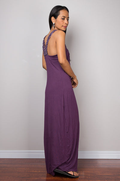 Halter dress, purple dress, backless dress, midi dress, sleeveless dress, long purple dress, open back dress, braided dress