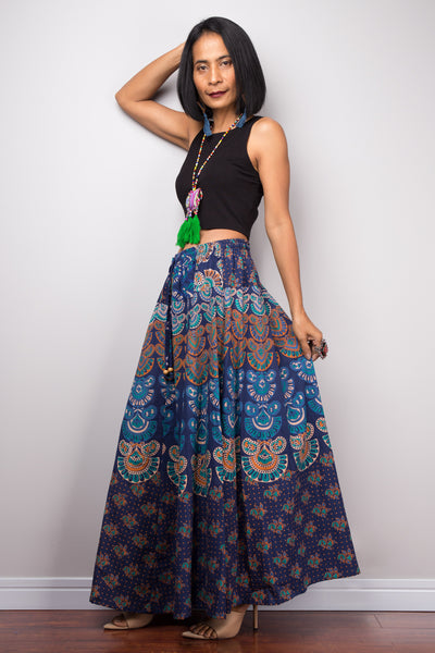 Boho Patchwork Skirt | Maxi skirt | Flowy gypsy festival skirt | Cotton skirt