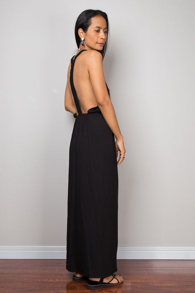 Black dress, Halter dress, backless dress, midi dress, sleeveless dress, long black dress, split dress, open back dress