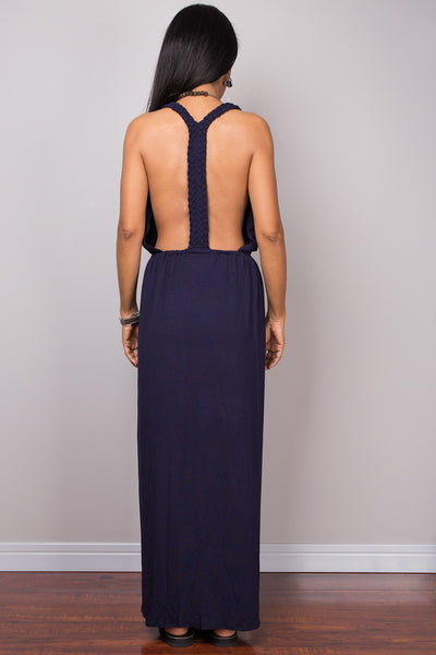Blue dress, Halter dress, backless dress, midi dress, sleeveless dress, long blue dress, split dress, open back dress