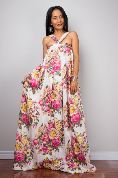 c800157fb1d69 Floral dress, Summer Dress, Pink floral cotton dress, sleeveless maxi –  Nuichan