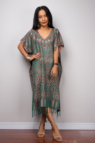 Kaftan, Women's Green Tunic, Short kaftan, Summer tunic, Boho dress, Beach wear, Midi kaftan