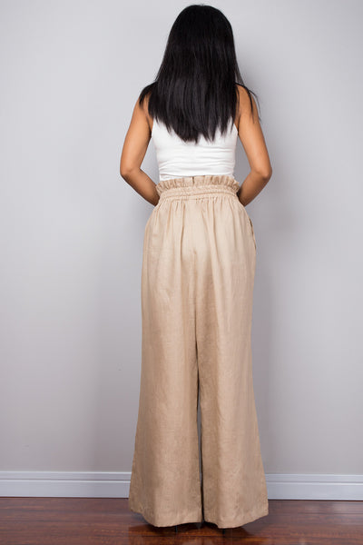 Handmade natural linen long wide leg palazzo pants with pockets. Beige high waist women's summer pants