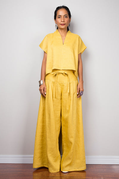Handmade yellow natural linen long wide leg palazzo pants. Mustard yellow high waist women's summer pants