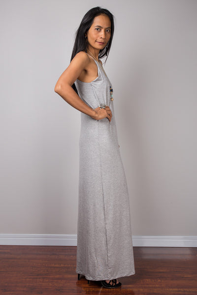 Grey dress, Spaghetti halter dress, summer dress, maxi dress, sleeveless dress, long grey dress, split dress, tube dress