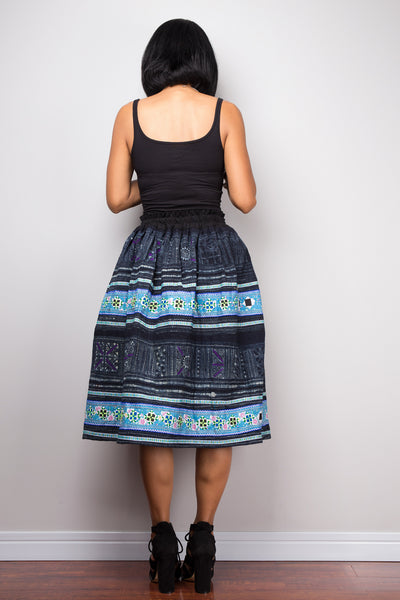 Tribal skirt | Up-cycled vintage Hmong fabric skirt