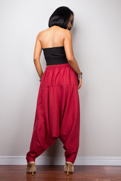 Red harem pants | Unisex cotton pants | Loose fit red trousers | Summer festival pants