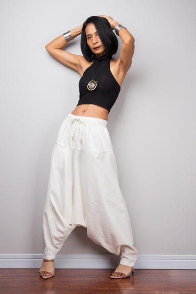 Off white harem pants | Unisex cotton pants | Loose fit trousers | Summer festival pants