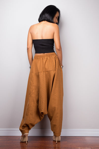 Brown harem pants | Unisex cotton pants | Loose fit brown trousers | Summer festival pants
