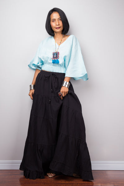 Tiered black peasant maxi skirt
