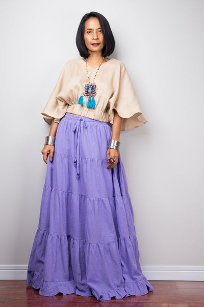 Purple skirt | Tiered peasant maxi skirt | Long boho soft lavender cotton flare skirt