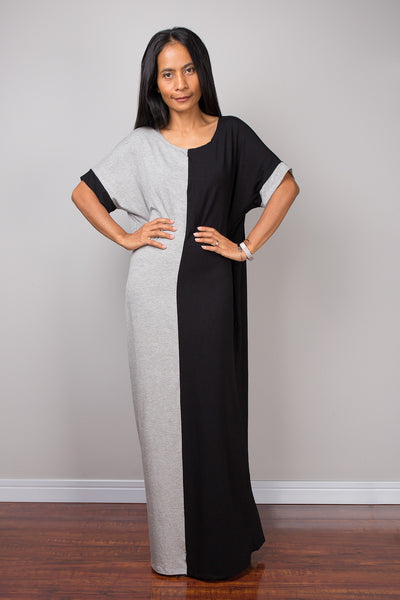Tube Dress, Loose fit dress, two tone dress, a line dress, black and grey dress, maxi dress