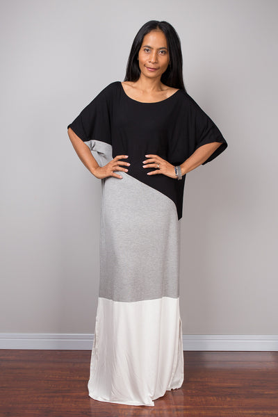 Tube Dress, Loose fit dress, kaftan dress, a line dress, black and grey and white dress, maxi dress