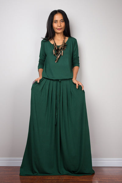Green maxi dress, long sleeve green dress with pockets : Autumn Thrills Collection No.1s  (Best Seller)