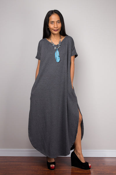 Grey Dress, Loose fit dress, tube dress, a line dress, short sleeve dress, maxi dress, rusty gray dress