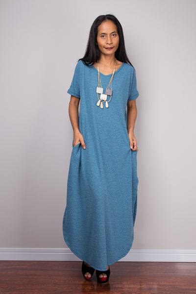 Blue Dress, Loose fit dress, tube dress, a line dress, short sleeve dress, maxi dress
