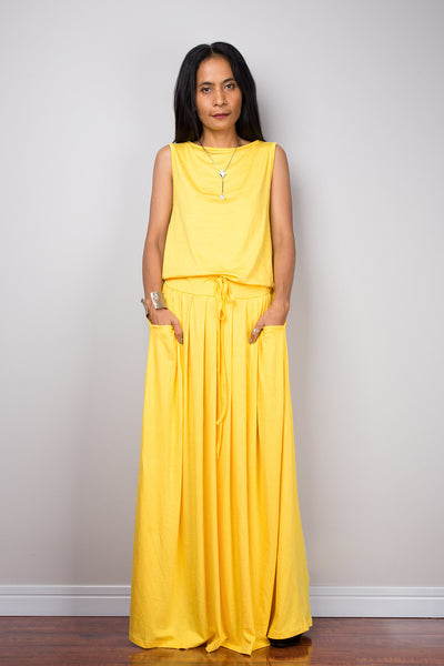Yellow Maxi Dress -  Sleeveless dress : Autumn Thrills Collection No.9s   (New Arrival)