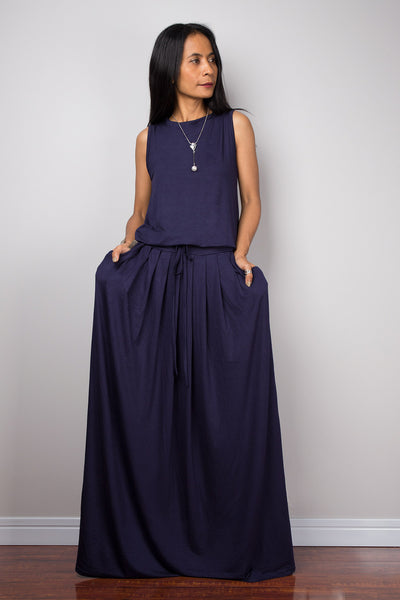 Navy blue dress, sleeveless dress, dark blue maxi dress, modest dress, muslim dress, long blue dress, dress with pockets, pleated skirt dress by Nuichan