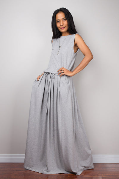 Maxi Dress -  Sleeveless Light Grey dress : Autumn Thrills Collection No.9s   (New Arrival)