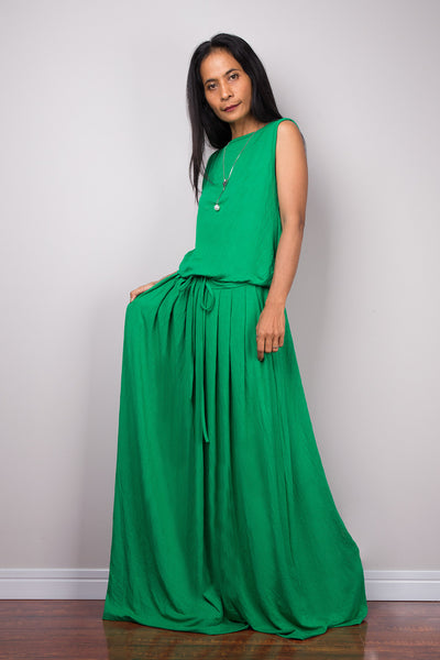 Sleeveless green maxi dress, Long green full dress with pockets