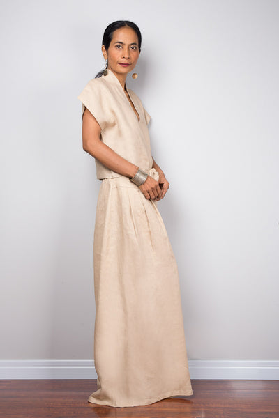 Linen wide leg palazzo pants. High waist women's summer pants
