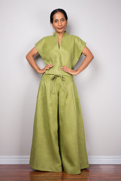 Handmade green linen long wide leg palazzo pants. Olive green high waist women's summer pants