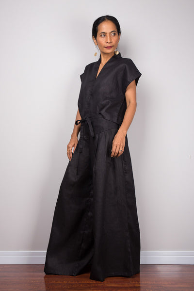 Handmade black linen long wide leg palazzo pants. Black high waist women's summer pants