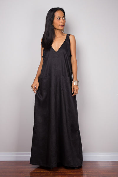 Sleeveless black linen halter top maxi dress with pockets. Handmade Summer holiday dress with plunging neckline, long overall dress