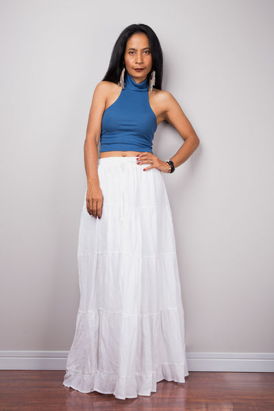 Tiered white peasant maxi skirt