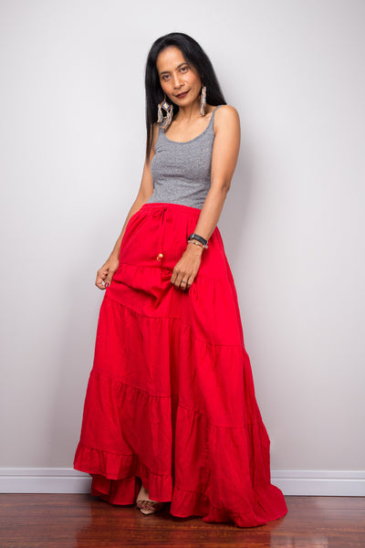 Tiered red peasant maxi skirt