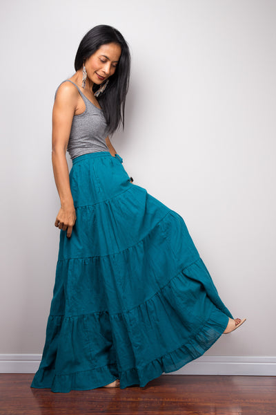 Tiered teal peasant maxi skirt