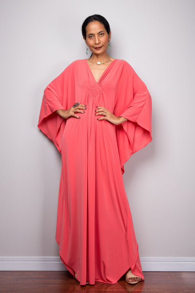 Coral Pink Kaftan Dress - Kimono Butterfly Dress - Resort dress
