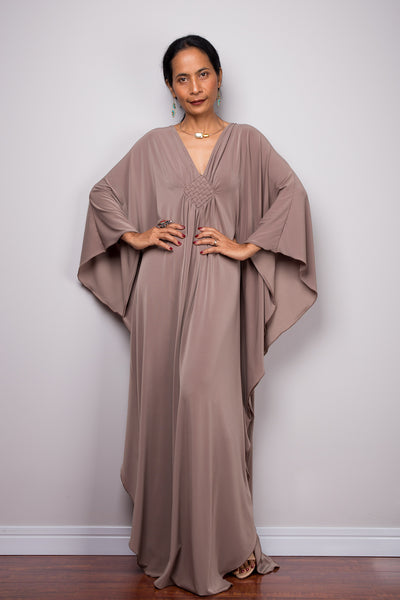 Taupe Kaftan, Maxi Frock Dress, Women's Kaftan, Kimono Butterfly Maxi Dress, Oversized dress, Loose fit plus size dress, Caftan dress