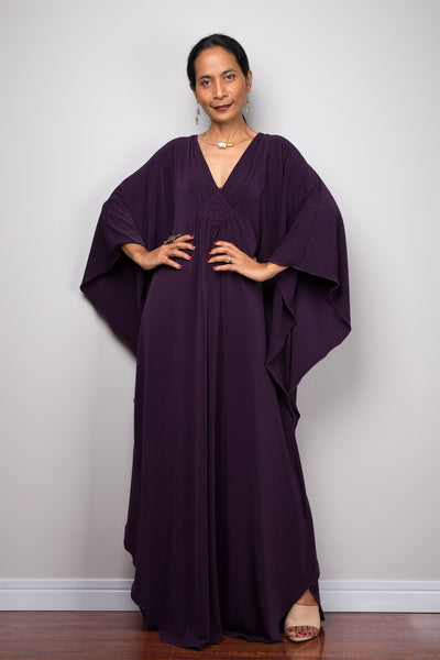 Shop affordable kaftans online.  Large kaftan dress.  Purple caftan dress by Nuichan