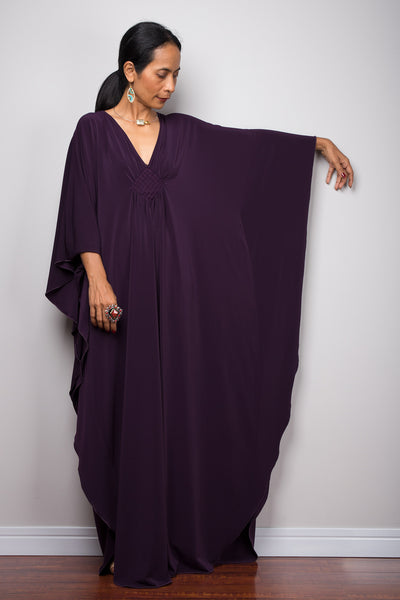 Buy affordable kaftans online from Nuichan.  Large kaftan maxi dress.  Dark Purple caftan dress