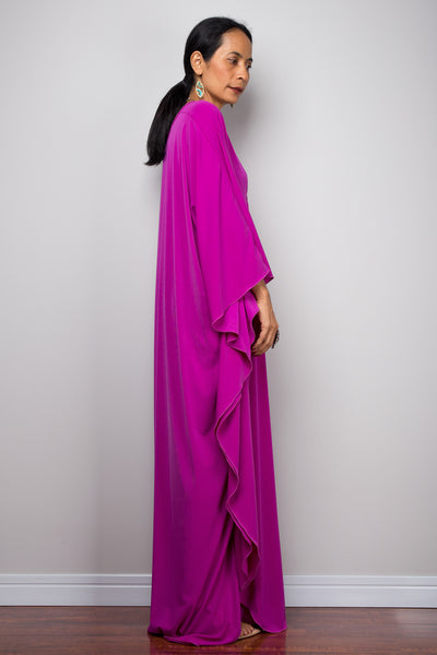 Hot Pink Purple Kaftan Dress - Magenta Kimono Butterfly Dress