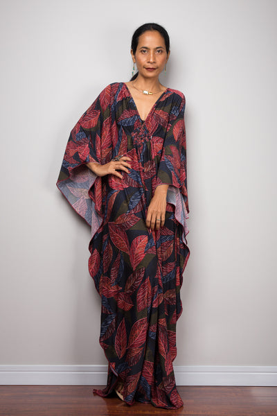 Boho Kaftan Dress | Holiday Resort dress | Long loose fitting Maxi Frock Dress | Evening dress with bohemian print