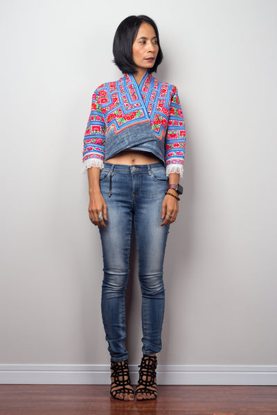 Hill tribe Crop Top Jacket by Nuichan.  Upcycled Hmong fabric jacket with modern twist.
