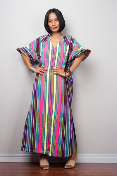 Striped Hill tribe kaftan dress with split  by Nuichan
