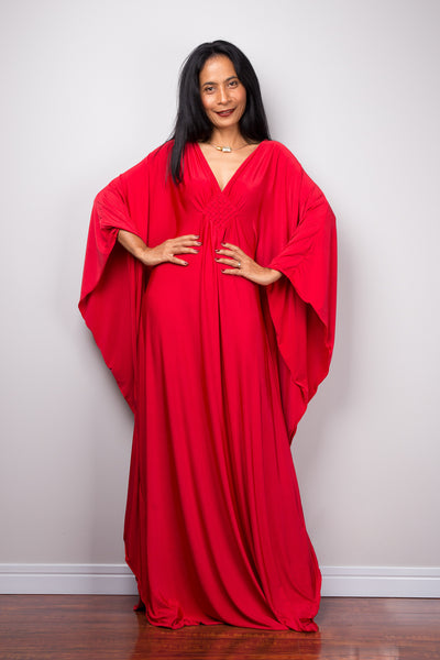 Buy red kaftan dress online.  Affordable caftan dress by Nuichan.  Plus size kaftan dress.  Long red dress for sale.