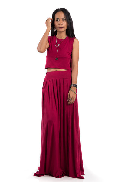 Red maxi skirt.  Long pleated skirt with high waist band and pockets on either side.